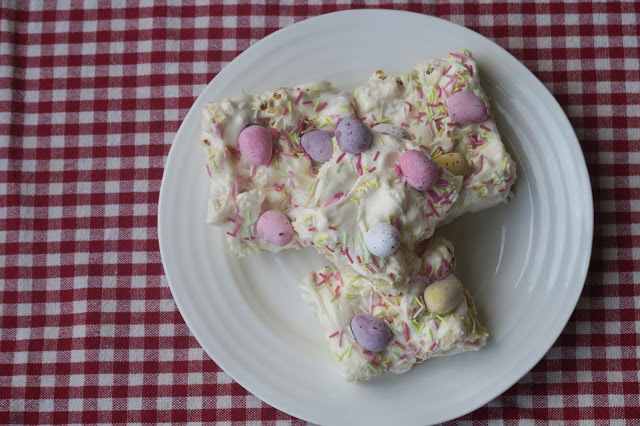 Easter Coconut and Vanilla Popcorn Slices