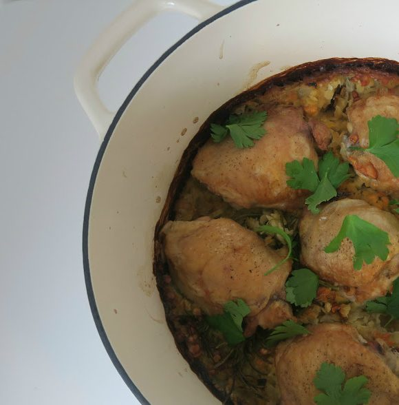 Chicken with Rosemary and Lentils