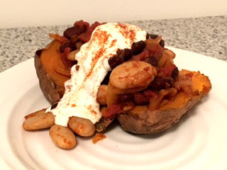 Baked Sweet Potato with Smoky Kidney and Butter Beans